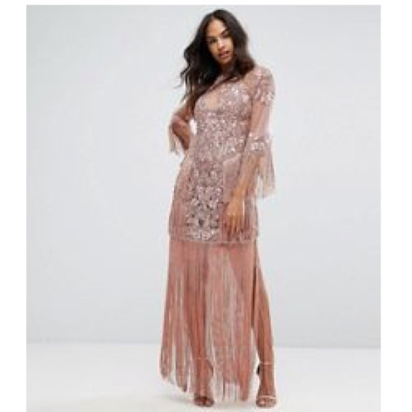 7a6d2939665 ASOS Dresses | A Star Is Born Embellished Fringe Rose Dress | Poshmark